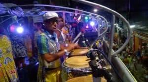 Bira Santos on top of a trio electrico during Salvador Carnival